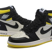 "[ Free  Shipping ] Air Jordan 1 Retro High Og ""Not For Resale""  Yellow /Black / White Basketball Shoes"