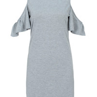 Gray Plus Size Cold Shoulder Ruffle Sleeve Shift Dress