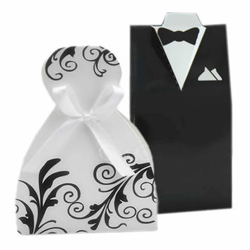 100PCS Wedding Party Favor Dress & Tuxedo Bride and Groom Ribbon Candy Gift Box = 1929738628