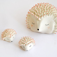 Ceramic Hedgehog Figure in White Clay and Decorated with Pigments in Pink- Ready To Ship