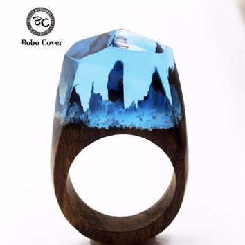 2017 Resin Magic Wooden Rings For Women Magic Forest Wooden Ring Girl Jewelry Fashion Natural Landscape Wood Rectangle Ring