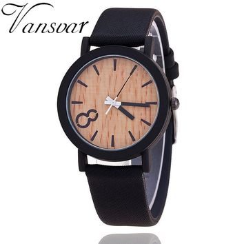 8Focused Wooden Classic Watch with Leather Strap