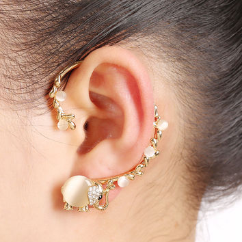 2016 New Gold Plated Earrings Bijoux Opal Rhinestone Insect Elephant Ear Cuff Clip Earring Fashion Jewelry Gift For Women