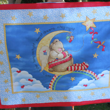 Ready to be shipped/ Handmade Hand Quilted Baby Blanket Teddy Bear on the Moon