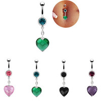 4 colors 2016 NEW SUMMER belly piercing sexy body jewelry piercing navel belly button ring dangle navel bar bijoux cute heart