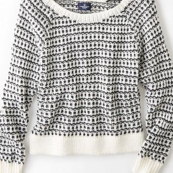 AEO Women's Soft Knit Crew Sweater (Frosty Cream)