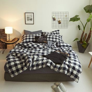 New Product 100% Washed Cotton Plaid Stripe Printed Bedding Sets Duvet Cover Sets Luxury Bed Linens Flat Sheet pillowcases