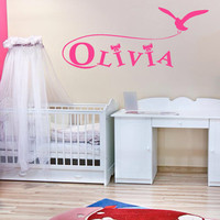Wall decal decor decals sticker art vnyl design personalized name monogram lettering sign nursery kids Olivia bedroom living room  (m1213)