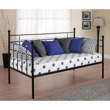Twin Size Black Metal Daybed With Chrome Detailing 2