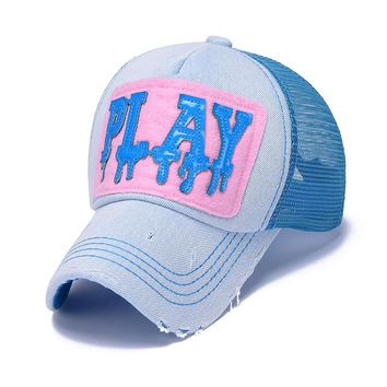 Play Baseball Caps Mesh Colorful Breathable Summer Hat Denim Hip Hop Street Fashion Stylish Snapback Adjustable Cool Caps ZY069