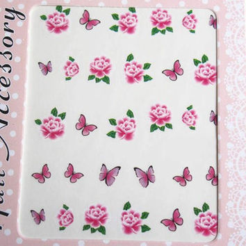 One Piece Diversiform Floral and Butterfly Pattern Nail Art Sticker