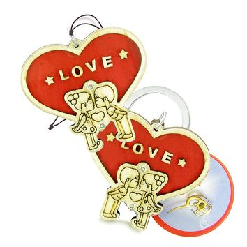 Cute Heart Magic Protection Energy Love Couples Best Friends Wooden Keychain Car Charm Blessings