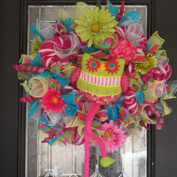 Deluxe Spring Wreath with Decorative Owl, Deco Mesh Wreath, Summer Wreath, Ready To Ship