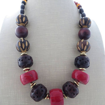 Red coral necklace, chunky necklace, brown wooden necklace, big bold necklace, exotic necklace, ethnic jewelry, beaded necklace, gioielli