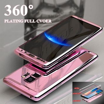 For Samsung s8 s9 s7 note 8 Case Luxury 360 Plating Mirror Full Coque Cover For Samsung Galaxy Note 9 8 S7 Edge S9 S8 Plus Case