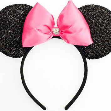 Minnie Mouse Ears Sparkle Mickey Mouse Ears - Sparkle Pink Minnie Ears Mickey Ears Headband Minnie Bow Minnie Mouse Bow Minnie Mouse Outfit