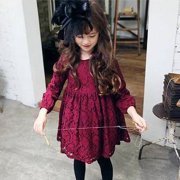 Wine Color Little Girl Lace Dress With Big Bow Baby Children Kids Korean Cute Clothing Big Bow Dress For Prom Or Wedding Party
