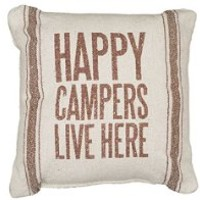 Primitives by Kathy Happy Campers 3-Stripes Pillow, 10-Inch by 10-Inch, Brown