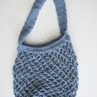 Crochet Market Tote Bag Farmers Market Grocery Bag in Denim Blue Cotton