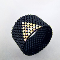 Beaded Black Ring Band with Gold Triangle by JeannieRichard