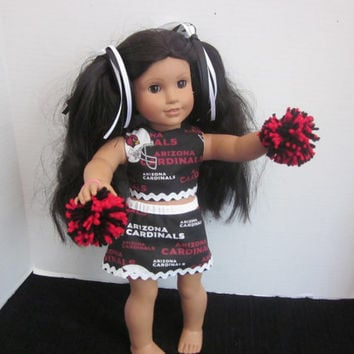 American Girl Cheer Uniform Made With Arizona Cardinals Fabric 18 Inch Doll Clothes Doll Cheer Outfit Doll Clothes By Sweetpeas Bows & More