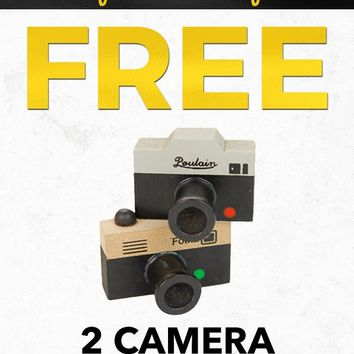Cyber Monday Free PFSTAMPA Set Of 2 Photo Camera Rubber Stamps Gift with Purchase