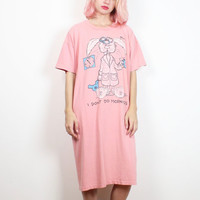 Vintage 1980s Tshirt Nightgown Pink Sleepy Bunny Rabbit I Don't Do Mornings Cartoon Novelty Print 80s Worn T Shirt Dress M L Extra Large XL