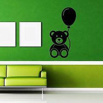 Wall Stickers Vinyl Decal Nursery Bear Balloon Gift For Kids Unique Gift ig1594