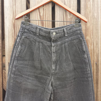 Vintage LEVI'S HIGH WAISTED Black Pleated Jeans - 1980s - Size 10 / 12