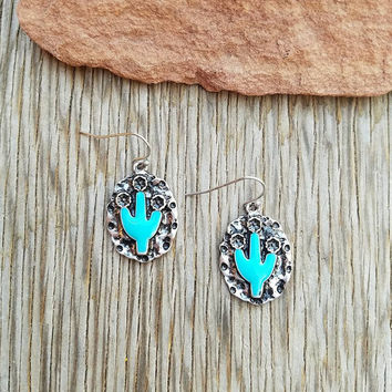 Hammered Turquoise Cactus Earrings