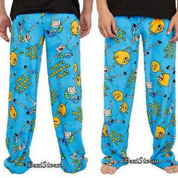 Licensed cool Adventure Time with Finn & Jake Men's Plush Fleece Lounge Pants Pajama Bottoms