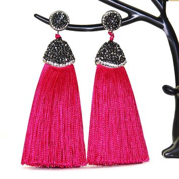 Handmade Bohemian Silk Tassel Drop Earrings w/ Crystal Inlaid Accents