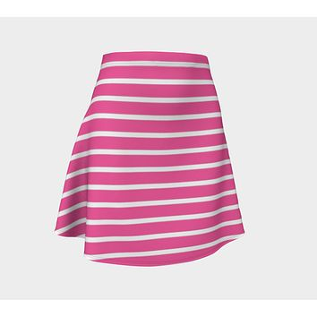 Striped Flare Skirt - White on Pink