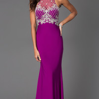 Floor Length Sleeveless Dress with Illusion Bodice