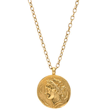 Gold Dionysus Coin Pendant Necklace