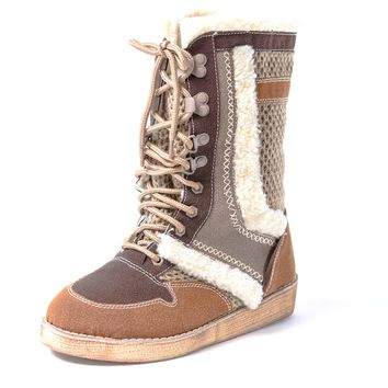 Native American Indian Boots (Coffee) Alaskan Fur Tribal Bohemian Ugg Style Womens Lace ups Shoes