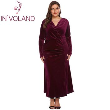 IN'VOLAND Plus Size XL-4XL Women Party Maxi Dress Autumn Spring Long Sleeve Draped Split Velvet Slim Long Large Dresses Big Size