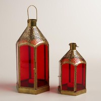 Red Glass and Metal Lantern