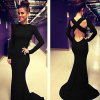 Fashion Black Long Sleeve Hollow Out High Waist Backless Bodycon Fishtail Maxi Dress = 4765099012