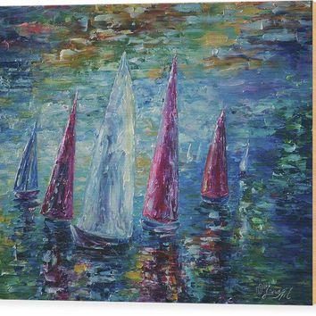 Sails To-night - Wood Print