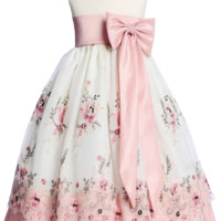 Ivory & Dusty Rose Floral Embroidery Organza Overlay Spring Dress with Taffeta Trim (Girls 6 months - Size 7)