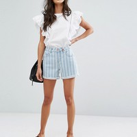 Vero Moda Striped Denim Shorts at asos.com