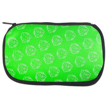PEAPGQ9 D20 Gamer Critical Hit and Fumble Green Pattern Dice Game Bag