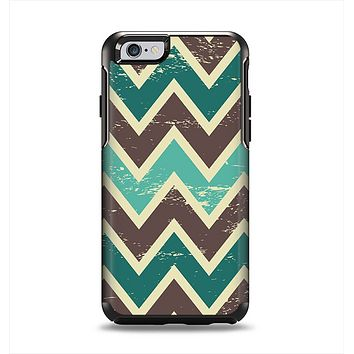 The Vintage Green & Tan Chevron Pattern V3 Apple iPhone 6 Otterbox Symmetry Case Skin Set