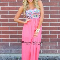Neon Pink Tribal Lined Maxi Dress