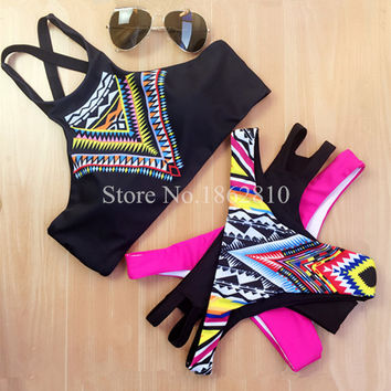 New Fashion Women Print Sexy Black Patchwork Bikini Set Retro Swimsuit Brazilian Swimwear Beach Bathing Suit Size S,M,L