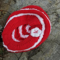 Hand Knit Beehive beret/hat Slouchy Beanie All Season Fashion Accessories/ Chunky Women Hat in red and white // Ready to be shipped TODAY