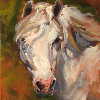 Beautiful,Original oil painting by Stephen Filarsky, White Pony, horse art, Selected for magazine cover, Free Shipping