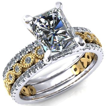 Lizette Radiant Moissanite 4 Claw Prong 3/4 Eternity Milgrain Diamond Shank Engagement Ring