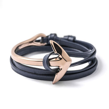 Rose Gold Anchor Half-cuff On Navy Leather Bracelet